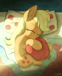 Size: 2000x2450 | Tagged: safe, artist:litrojia, applejack, earth pony, pony, apple, bed, cute, ear fluff, eyes closed, female, food, high res, hug, jackabetes, lying down, mare, missing accessory, pillow, plushie, side, sleeping, smiling, solo, sunlight, that pony sure does love apples