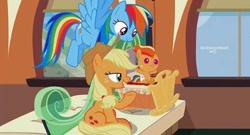 Size: 540x292 | Tagged: safe, artist:vibesofdash, edit, edited screencap, screencap, applejack, rainbow dash, oc, oc:zap, earth pony, pegasus, pony, the crystalling, appledash, female, filly, lesbian, magical lesbian spawn, offspring, parent:applejack, parent:rainbow dash, parents:appledash, shipping