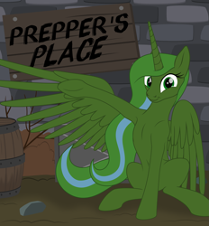 Size: 2255x2431 | Tagged: safe, artist:grypher, oc, oc only, oc:prepper, alicorn, fallout equestria, artificial alicorn, fallout equestria: prepper, fanfic art, green alicorn (fo:e), happy, smiling, spread wings, wings