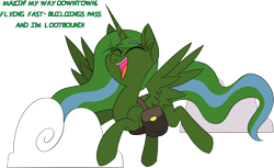 Size: 3603x2204 | Tagged: safe, artist:taaffeiite, oc, oc only, oc:prepper, alicorn, fallout equestria, a thousand miles, alicorn oc, artificial alicorn, bag, fallout equestria: prepper, fanfic art, flying, green alicorn (fo:e), horn, saddle bag, simple background, singing, smiling, solo, transparent background, vanessa carlton, wings
