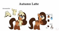 Size: 1280x665 | Tagged: safe, artist:mezairplush, oc, oc:autumn latte, earth pony, base used, body markings, clothes, color palette, cutie mark, dappled, hat, raised hoof, reference sheet, scarf, socks (coat marking)