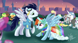 Size: 2584x1440 | Tagged: safe, artist:ksz35, apple fritter, applejack, carrot top, coco crusoe, eclair créme, fancypants, golden harvest, jangles, lightning bolt, linky, pinkie pie, rainbow dash, rarity, shoeshine, soarin', star gazer, twilight sparkle, white lightning, earth pony, pegasus, pony, unicorn, a canterlot wedding, apple family member, blue fur, bowtie, boyish boy, bridesmaid dress, cake, cake slice, canterlot, clothes, cowboy hat, dress, dress uniform, eating, female, fiddle, flower, food, gala dress, goggles, goggles on head, grass, green eyes, hat, male, mare, marriage, microphone, monocle, musical instrument, necktie, pink eyes, rose, shipping, shirt, slice, soarindash, spread wings, stallion, straight, suit, tailcoat, tuxedo, uniform, vest, violin, wedding, wedding cake, wedding dress, wedding reception, wings, wonderbolts dress uniform, wonderbolts uniform