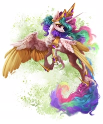 Size: 2033x2455 | Tagged: safe, artist:maggephah, artist:rossignolet, princess celestia, alicorn, pony, cheek fluff, chest fluff, colored wings, colored wingtips, crown, ear fluff, female, fluffy, flying, high res, hoof shoes, jewelry, leg fluff, mare, neck fluff, regalia, solo, two toned wings, unshorn fetlocks, wing fluff, wings