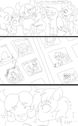 Size: 1000x1600 | Tagged: safe, artist:anonymous, gallus, garble, ocellus, sandbar, silverstream, smolder, yona, pony, /mlp/, 4chan, baby, baby changeling, baby pony, black and white, brother and sister, drawthread, egg, female, grayscale, male, monochrome, photo album, siblings, student six, wat, wtf