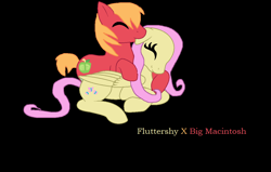 Size: 1228x780 | Tagged: safe, artist:crystalstar1551, big macintosh, fluttershy, base used, biting, black background, ear bite, female, fluttermac, horses doing horse things, male, prone, shipping, simple background, straight