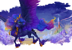 Size: 2576x1817 | Tagged: safe, artist:maggephah, princess luna, alicorn, pony, castle, cheek fluff, chest fluff, crown, ear fluff, ethereal mane, female, fluffy, flying, hoof shoes, jewelry, leg fluff, mare, night, regalia, sky, solo, spread wings, starry mane, stars, wings