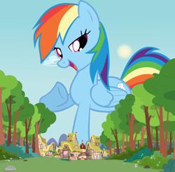 Size: 1280x1262 | Tagged: safe, artist:shelltoon, rainbow dash, pegasus, pony, female, giant pony, giant rainbow dash, giantess, growth, highrise ponies, macro, mare, mega giant, mega/giant rainbow dash, ponyville, sky, sun