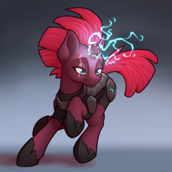 Size: 4000x4000 | Tagged: safe, artist:ohemo, tempest shadow, pony, unicorn, my little pony: the movie, absurd resolution, armor, broken horn, electricity, eye scar, female, horn, mare, scar, solo