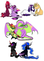 Size: 1024x1420 | Tagged: safe, artist:ashurikrbg, applejack, king sombra, nightmare moon, rarity, spike, tempest shadow, thorax, twilight sparkle, alicorn, changeling, dragon, female, gay, kissing, lesbian, male, rarijack, shipping, simple background, sombramoon, straight, tempestlight, thoraxspike, transparent background, twilight sparkle (alicorn)