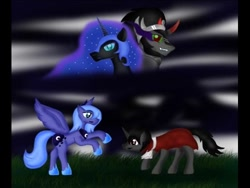 Size: 480x360   Tagged: safe, artist:pinkarma, king sombra, nightmare moon, princess luna, female, lumbra, male, s1 luna, shipping, sombramoon, straight, younger