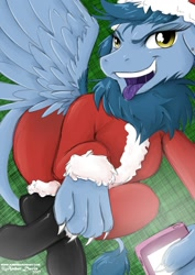 Size: 905x1280 | Tagged: safe, artist:sonicsweeti, oc, oc only, oc:rainy, griffon, cellphone, christmas, clothes, commission, costume, digital art, griffon oc, holiday, looking at you, paws, phone, santa costume, smartphone, solo, tail, tongue out, wings