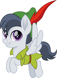 Size: 1110x1500 | Tagged: safe, artist:cloudyglow, rumble, pegasus, pony, clothes, colt, crossover, cute, disney, flying, hat, looking at you, male, movie accurate, peter pan, rumblebetes, simple background, smiling, smiling at you, solo, transparent background