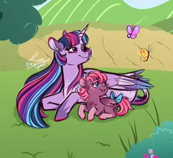 Size: 1280x1173 | Tagged: safe, artist:snowballflo, twilight sparkle, oc, oc:ember, alicorn, butterfly, pegasus, pony, bow, coat markings, colored hooves, colored wings, colored wingtips, female, filly, magical lesbian spawn, mare, mother and child, mother and daughter, offspring, parent:sunset shimmer, parent:twilight sparkle, parents:sunsetsparkle, prone, tail bow, twilight sparkle (alicorn), wings
