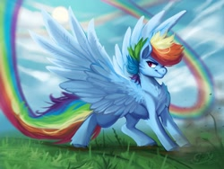 Size: 2048x1536 | Tagged: safe, artist:chillyfish, rainbow dash, pegasus, pony, alternate hairstyle, cheek fluff, chest fluff, cloud, colored hooves, female, fluffy, leg fluff, mare, rainbow trail, sky, solo, spread wings, sun, wings