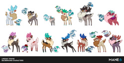 Size: 800x409 | Tagged: safe, artist:lindsay towns, artist:mane6, pomfy, stronghoof hoofstrong, deer, reindeer, winter sprite, them's fightin' herds, antlers, background character, community related, fluffy, official art, simple background, white background