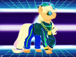 Size: 1024x768 | Tagged: safe, artist:holdytussigwpigeon, artist:importantgreatwake, artist:pigeorgien, applejack, earth pony, 80s, clothes, female, glasses, hat, mare, solo