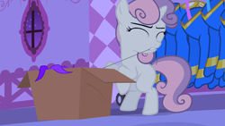 Size: 1280x720 | Tagged: safe, screencap, sweetie belle, pony, unicorn, for whom the sweetie belle toils, bipedal, box, evil planning in progress, eyes closed, female, filly, foal, lights out, night, oh no she didn't, pulling, rarity's bedroom, revenge, sabotage, sin of envy, solo, thread, wardrobe