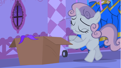 Size: 1280x720 | Tagged: safe, screencap, sweetie belle, pony, unicorn, for whom the sweetie belle toils, bipedal, box, evil planning in progress, eyes closed, female, filly, foal, lights out, mouth hold, multicolored mane, multicolored tail, night, pleased, rarity's bedroom, revenge, sabotage, sin of envy, smiling, solo, thread