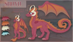 Size: 1600x926 | Tagged: safe, artist:amura-of-jupiter, oc, oc only, oc:shuyu, anthro, dragon, claws, commission, curled tail, female, fur, guide, hand on hip, horns, membranous wings, orange mane, quadrupedal, reference, reference sheet, scales, smiling, spread wings, wings