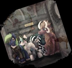 Size: 1600x1503 | Tagged: safe, artist:amura-of-jupiter, oc, oc only, oc:arcane gears, cyborg, dragon, earth pony, unicorn, zebra, fallout equestria, amputee, black and white mane, bomber jacket, braid, braided tail, bust, cloak, clothes, commission, cracked glass, door, dragon oc, earth pony oc, fallout, female, flower, glass, green mane, indoors, injured, jacket, leather jacket, metal, missile, orange mane, pipe, pipes, poison joke, portrait, prosthetic leg, prosthetic limb, prosthetics, raised hoof, robotic legs, simple background, sitting, smiling, stain, stairs, standing, torn photo, transparent background, unshorn fetlocks, vertibird, warning, warning sign, weapon, window, zebra oc