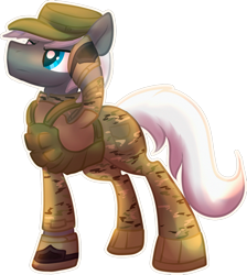 Size: 1024x1144 | Tagged: safe, artist:amura-of-jupiter, oc, oc only, armor, armored pony, blue eyes, boots, camouflage, combat boots, commission, gray coat, hat, looking up, male, military, military hat, military uniform, salute, serious, shoes, simple background, sticker, transparent background, white mane