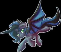 Size: 1024x864 | Tagged: safe, artist:amura-of-jupiter, oc, oc only, oc:kuro, bat pony, unicorn, bat pony oc, bat wings, black mane, blue mane, blue wings, broken horn, commission, cute, cute little fangs, ear fluff, eyelashes, eyeshadow, fangs, female, floppy ears, flying, gray coat, green eyes, horn, looking back, makeup, membranous wings, raised hoof, simple background, slit eyes, spread wings, transparent background, wings
