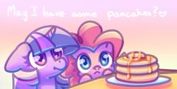 Size: 2604x1310 | Tagged: safe, artist:musicfirewind, pinkie pie, twilight sparkle, earth pony, unicorn, cute, diapinkes, food, pancakes, talking to viewer, twiabetes, unicorn twilight