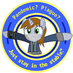 Size: 1280x1280 | Tagged: safe, artist:brisineo, artist:luckydonald, derpibooru exclusive, edit, oc, oc only, oc:littlepip, pony, unicorn, fallout equestria, approved, button, clothes, coronavirus, covid-19, face mask, fanfic, fanfic art, female, grin, hooves, horn, littlepip approved, looking at you, mare, open mouth, pipbuck, seal of approval, simple background, slogan, smiling, solo, stable-tec, stay at home, sticker, sticker design, teeth, text, transparent background, vault suit, vector