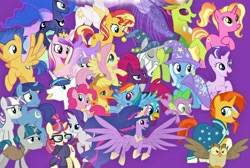 Size: 1024x689 | Tagged: safe, artist:silverbuller, edit, edited screencap, screencap, applejack, flash sentry, fluttershy, gallus, luster dawn, moondancer, night light, owlowiscious, pinkie pie, princess cadance, princess celestia, princess flurry heart, princess luna, rainbow dash, rarity, spike, star swirl the bearded, starlight glimmer, stygian, sunburst, sunset shimmer, tempest shadow, thorax, trixie, twilight sparkle, twilight velvet, alicorn, bird, changedling, changeling, dragon, earth pony, owl, pegasus, pony, unicorn, the last problem, female, king thorax, male, mane seven, mane six, mare, princess twilight 2.0, twilight sparkle (alicorn), winged spike, wings