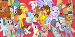 Size: 1024x502 | Tagged: safe, artist:silverbuller, edit, edited screencap, screencap, boneless, boneless 2, cheese sandwich, cranky doodle donkey, cup cake, gilda, gummy, igneous rock pie, limestone pie, marble pie, matilda, maud pie, mudbriar, party favor, pipsqueak, pound cake, prince rutherford, pumpkin cake, roseluck, silverstream, sky beak, somnambula, zecora, donkey, earth pony, griffon, hippogriff, pegasus, yak, zebra, the last problem, female, male, mare, pie family