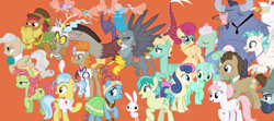 Size: 2287x1015 | Tagged: safe, artist:silverbuller, edit, edited screencap, screencap, angel bunny, big daddy mccolt, bon bon, bulk biceps, cattail, discord, doctor fauna, doctor horse, doctor stable, doctor whooves, gabby, gentle breeze, iron will, lyra heartstrings, mayor mare, meadowbrook, nurse redheart, posey shy, sandbar, sweetie drops, terramar, time turner, tree hugger, zephyr breeze, breezie, classical hippogriff, draconequus, earth pony, griffon, hippogriff, minotaur, pegasus, pony, rabbit, unicorn, the last problem, animal, female, male, mare, mccolt family, stallion