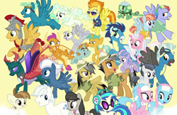 Size: 1870x1213 | Tagged: safe, artist:silverbuller, aloe, bow hothoof, clear sky, daring do, derpy hooves, dj pon-3, double diamond, featherweight, flash magnus, lotus blossom, night glider, octavia melody, pharynx, quibble pants, rumble, sky stinger, smolder, snails, snips, soarin', spitfire, tank, thunderlane, vapor trail, vinyl scratch, wind sprint, windy whistles, the last problem