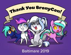 Size: 1165x900   Tagged: safe, artist:dawnfire, oc, oc only, earth pony, pegasus, pony, unicorn, bronycon, bronycon 2019, bronycon mascots