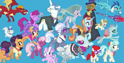 Size: 2049x1048 | Tagged: safe, artist:silverbuller, edit, edited screencap, screencap, berry punch, berryshine, capper dapperpaws, cheerilee, coco pommel, diamond tiara, fancypants, garble, hoity toity, mistmane, ocellus, opalescence, photo finish, plaid stripes, princess ember, saffron masala, sassy saddles, silver spoon, tender taps, twist, zippoorwhill, abyssinian, cat, changedling, changeling, dragon, earth pony, pegasus, pony, unicorn, the last problem, bloodstone scepter, colt, dragoness, female, filly, male, mare, stallion, teenager