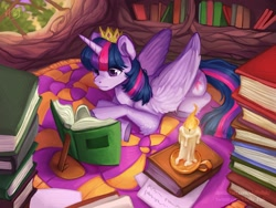 Size: 2048x1536 | Tagged: safe, artist:chillyfish, twilight sparkle, alicorn, pony, book, candle, colored hooves, crown, female, golden oaks library, jewelry, leg fluff, library, mare, prone, reading, regalia, rug, solo, twilight sparkle (alicorn), window