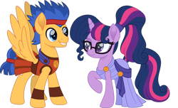 Size: 1280x778 | Tagged: safe, artist:cloudyglow, flash sentry, sci-twi, twilight sparkle, pegasus, pony, unicorn, equestria girls, armor, crossover, disney, duo, equestria girls ponified, female, flashlight, glasses, greek mythology, hercules, male, mare, megara, movie accurate, sciflash, shipping, simple background, smiling, stallion, straight, transparent background, unicorn sci-twi, wings