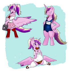 Size: 1000x1000 | Tagged: safe, artist:kushina13, princess cadance, alicorn, pony, alternate hairstyle, bipedal, clothes, cookie, cute, cutedance, female, food, horn, japanese, mare, mouth hold, one-piece swimsuit, school uniform, skirt, solo, sports panties, sukumizu, swimsuit, wings