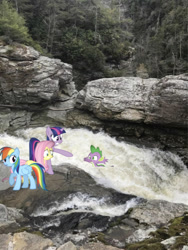 Size: 1068x1423 | Tagged: safe, photographer:undeadponysoldier, fluttershy, rainbow dash, spike, twilight sparkle, dragon, pegasus, pony, unicorn, concerned, female, linville falls, male, mare, rapids, rescue, rock, saving a life, scared, unicorn twilight, water, wet, wet mane, worried