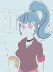 Size: 1535x2048 | Tagged: safe, artist:noupu, sonata dusk, equestria girls, bust, choker, clothes, female, food, jacket, shirt, smiling, solo, sonataco, taco