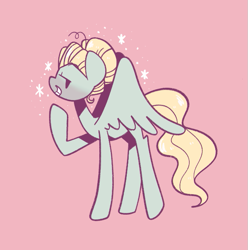 Size: 667x672 | Tagged: safe, artist:typhwosion, zephyr breeze, pegasus, pony, pink background, simple background, solo, sparkles