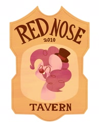 Size: 1458x1882 | Tagged: safe, artist:typhwosion, pinkie pie, earth pony, pony, bust, clown nose, hat, logo, red nose, solo, tavern, text