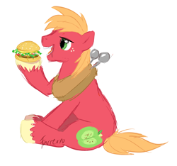 Size: 1336x1252 | Tagged: safe, artist:furreon, big macintosh, earth pony, pony, big mac (burger), burger, cannibalism, eating, food, hamburger, male, meat, messy eating, namesake, open mouth, ponies eating meat, pun, simple background, sitting, solo, stallion, white background