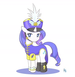 Size: 1757x1796 | Tagged: safe, artist:auntie_grub, rarity, pony, unicorn, testing testing 1-2-3, ancient wonderbolts uniform, clothes, cute, female, hat, looking at you, mare, no pupils, raribetes, sgt. rarity, simple background, solo, uniform, white background