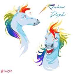 Size: 751x751 | Tagged: safe, artist:iscoppie, rainbow dash, pegasus, pony, bust, female, hoers, horses doing horse things, mare, open mouth, simple background, solo, text, white background