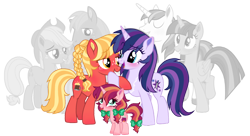 Size: 1180x644 | Tagged: safe, artist:unoriginai, applejack, big macintosh, shining armor, twilight sparkle, oc, oc:apple brandy, oc:bailey brew, oc:paladin, alicorn, applecest, applemac, brother and sister, female, incest, infidelity, magical lesbian spawn, male, oc x oc, offspring, offspring shipping, offspring's offspring, parent:applejack, parent:big macintosh, parent:shining armor, parent:twilight sparkle, parents:applemac, parents:oc x oc, parents:shining sparkle, product of incest, shiningsparkle, shipping, siblings, simple background, straight, transparent background, twicest, twilight sparkle (alicorn)