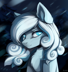 Size: 3000x3204 | Tagged: safe, artist:ritter, oc, oc only, oc:snowdrop, pegasus, pony, avatar, bust, chest fluff, ear fluff, female, looking at you, mare, night, older, snow, snowfall, solo, windswept mane, winter