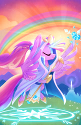 Size: 1920x2954   Tagged: safe, artist:meekcheep, idw, princess cadance, alicorn, pony, legends of magic, spoiler:comic, spoiler:comiclom9, cloak, clothes, cloud, costume, crystal empire, crystal heart, eyes closed, female, flying, hoof hold, majestic, mare, rainbow, sky, solo, spread wings, staff, wings
