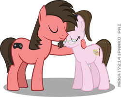 Size: 4068x3252   Tagged: safe, artist:mrkat7214, oc, oc only, oc:ace play, oc:charm palette, earth pony, pony, absurd resolution, cute, duo, facial hair, female, glasses, goatee, male, mare, mother and child, mother and son, mother's day, ponytail, simple background, snuggling, stallion, transparent background, vector