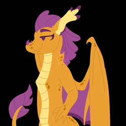 Size: 1000x1000   Tagged: safe, artist:lepiswerid, smolder, dragon, bat wings, black background, claws, deviantart, female, females only, older, older smolder, redesign, scales, simple background, smiling, smug, solo, tail, wings
