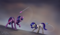 Size: 5105x3012 | Tagged: safe, artist:dashid, rarity, twilight sparkle, alicorn, unicorn, absurd resolution, duel, female, glowing horn, horn, magic, mare, sword, swordfight, telekinesis, twilight sparkle (alicorn), weapon